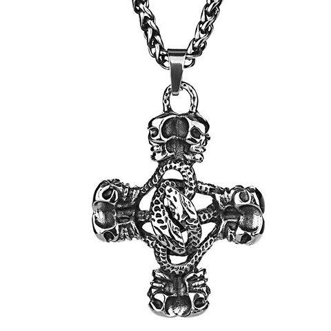 Punk Burnish Cut Out Skull Cross Pendant