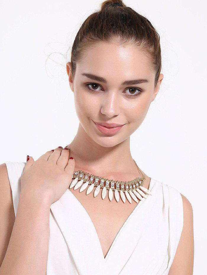 Rhinestone Faux Rammel Hollow Out Necklace - WHITE