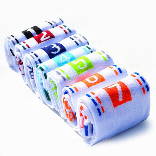 7 Pairs of Casual Number and Dashed Line Pattern Socks - WHITE