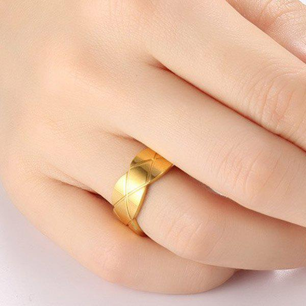Rhombus Pattern Wave Edge Ring - GOLDEN ONE-SIZE