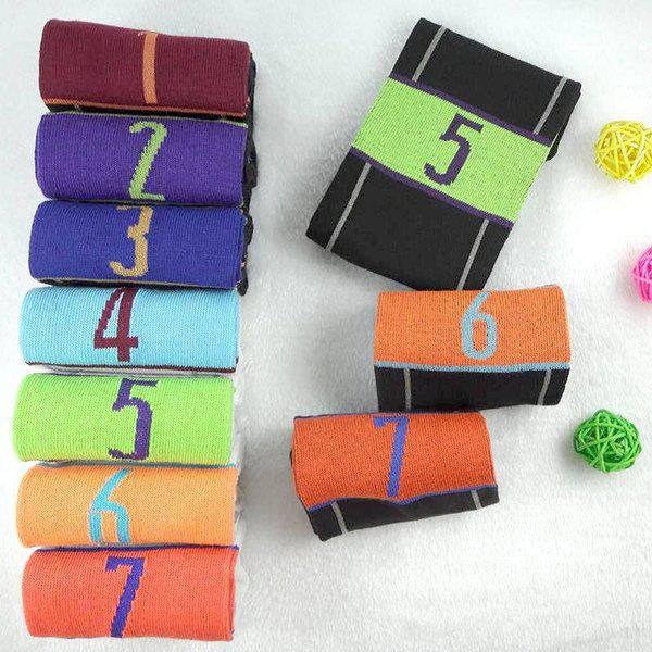 7 Pairs of Casual Number and Stripe Pattern Socks - COLORMIX