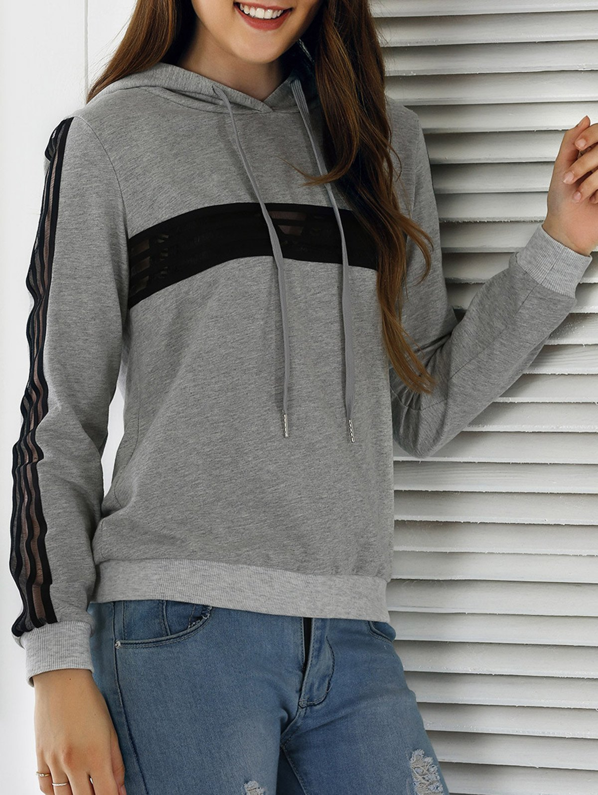 See-Through Color Block Drawstring Hoodie - LIGHT GRAY XL