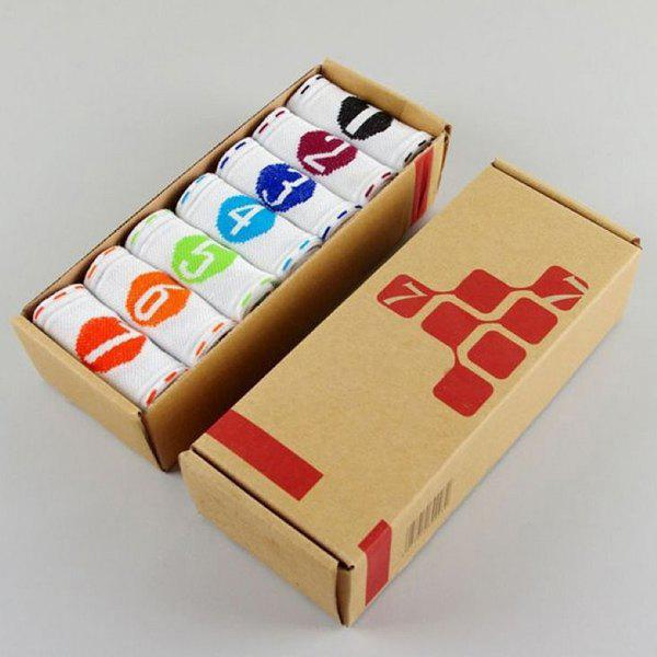 7 Pairs of Casual Number and Round Pattern Socks - WHITE