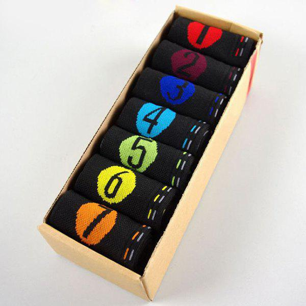 7 Pairs of Casual Number and Round Pattern Socks - BLACK