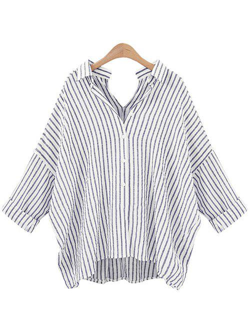 Stripe Back and  Front V-Shape Baggy Shirt - GRAY 3XL