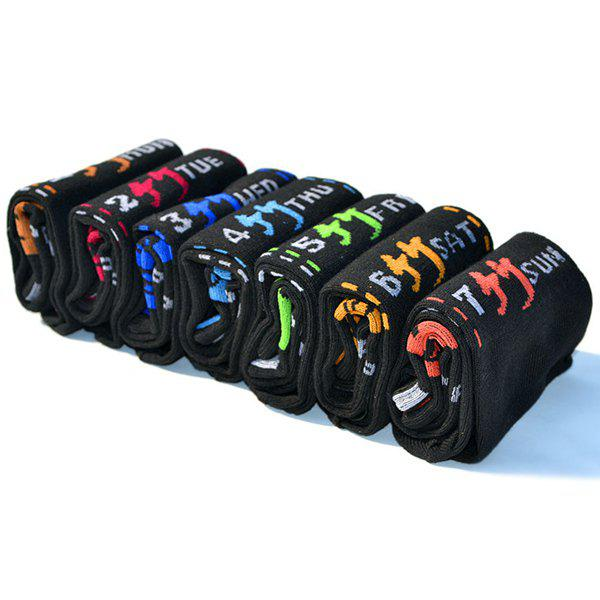 7 Pairs of Casual Number Letter Chinese Character Pattern Socks - BLACK