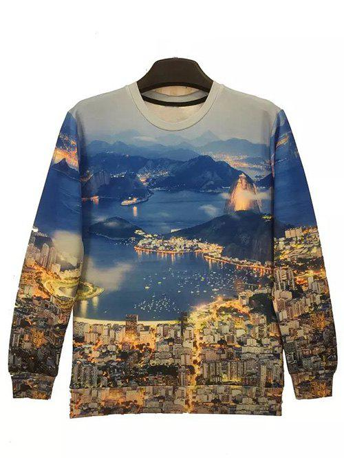 Round Neck Long Sleeve 3D City Night View Print Sweatshirt - COLORMIX XL