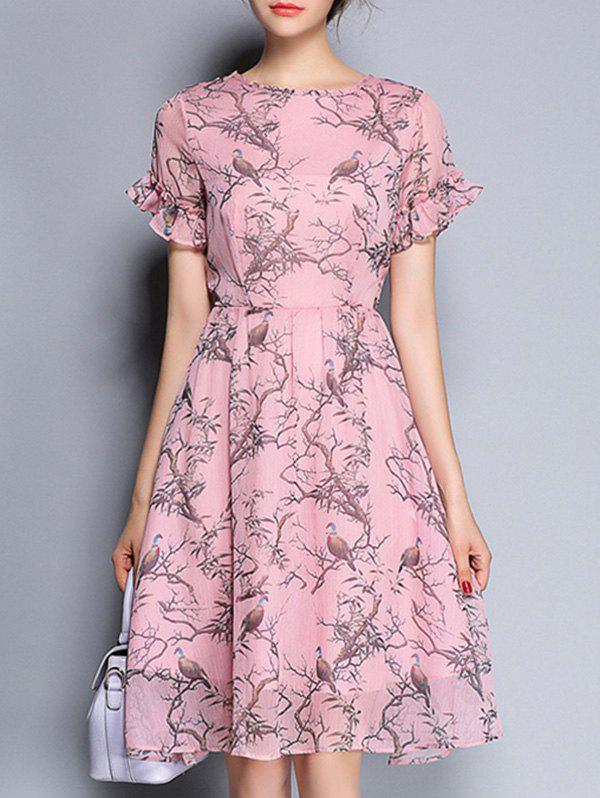 Bird Print High Waist Ruffled Flare Dress - LIGHT PINK 2XL
