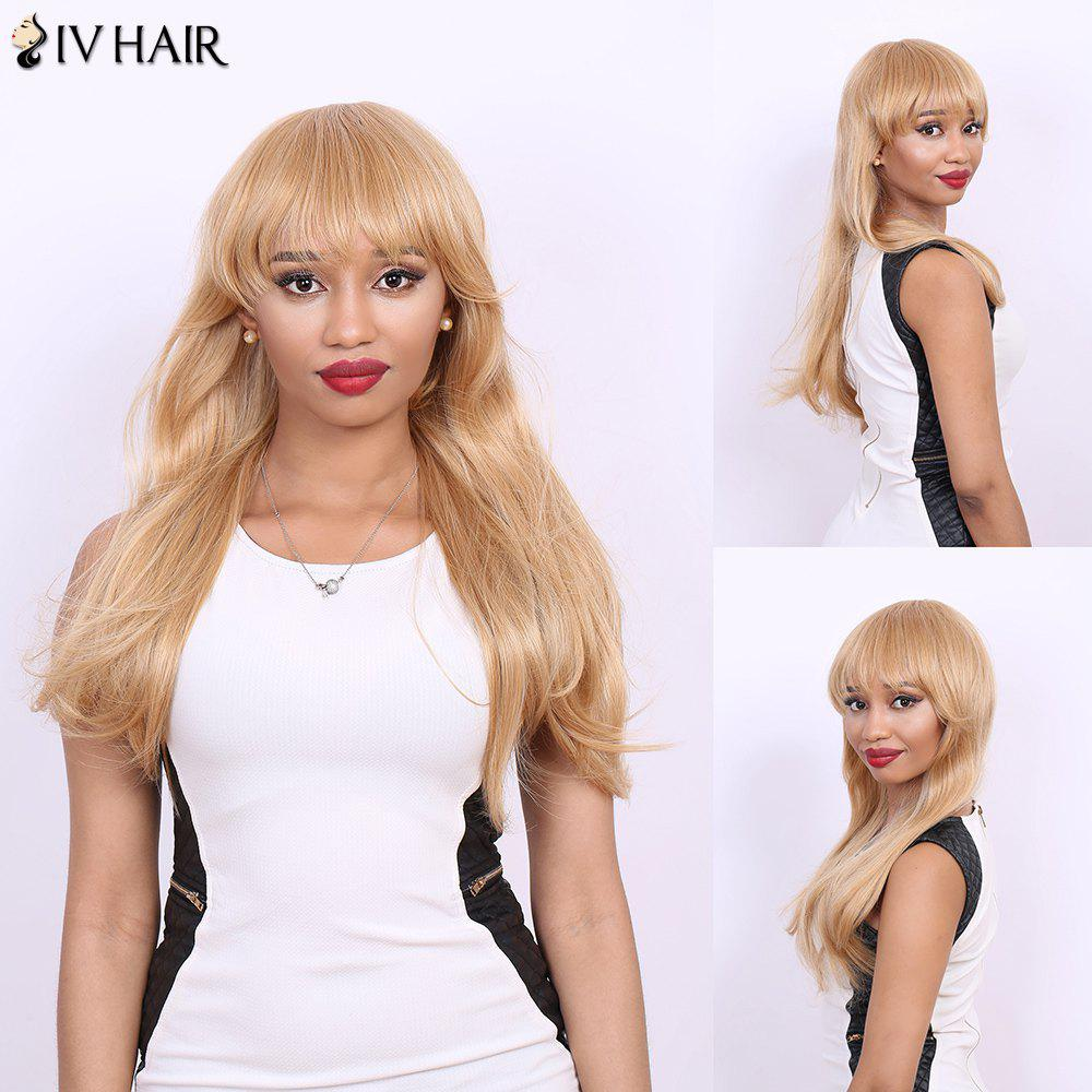 Long Full Bang Straight Real Natural Hair Siv Wig - LIGHT BLONDE /