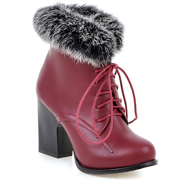Chunky Heel Faux Fur Lace Up Ankle BootsShoes<br><br><br>Size: 41<br>Color: WINE RED