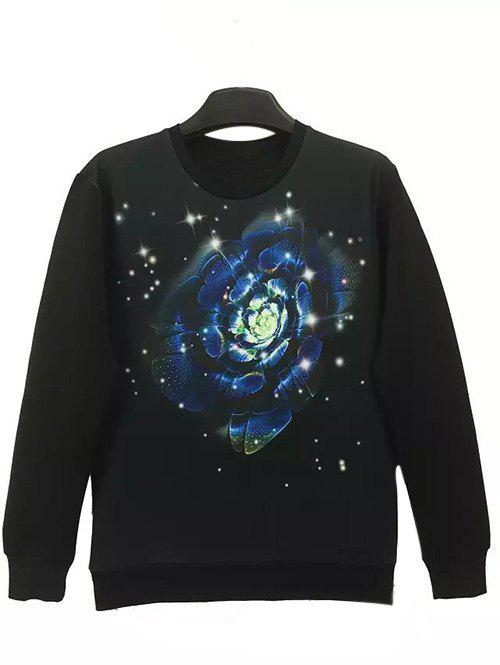 Round Neck Long Sleeve 3D Flower and Star Print Sweatshirt - BLACK XL