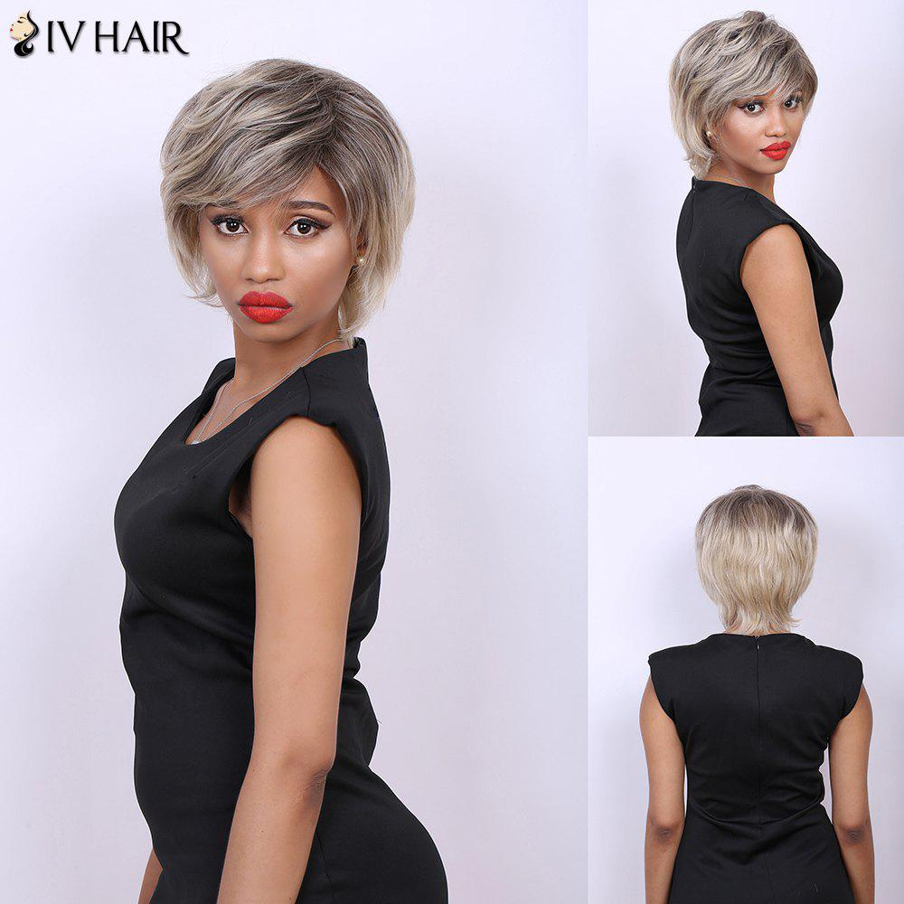 Multi Short Fluffy Side Bang Straight Real Natural Hair Siv Wig - COLORMIX