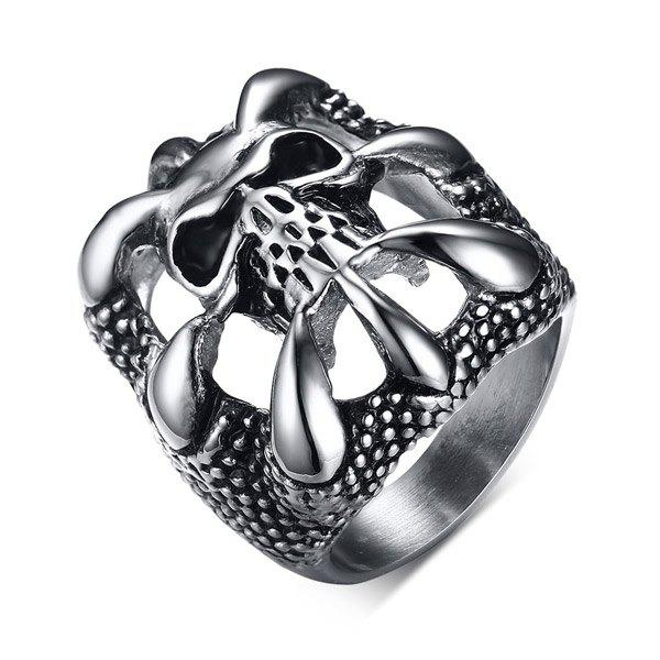 Carving Skull Etched Stainless Steel Ring - SILVER