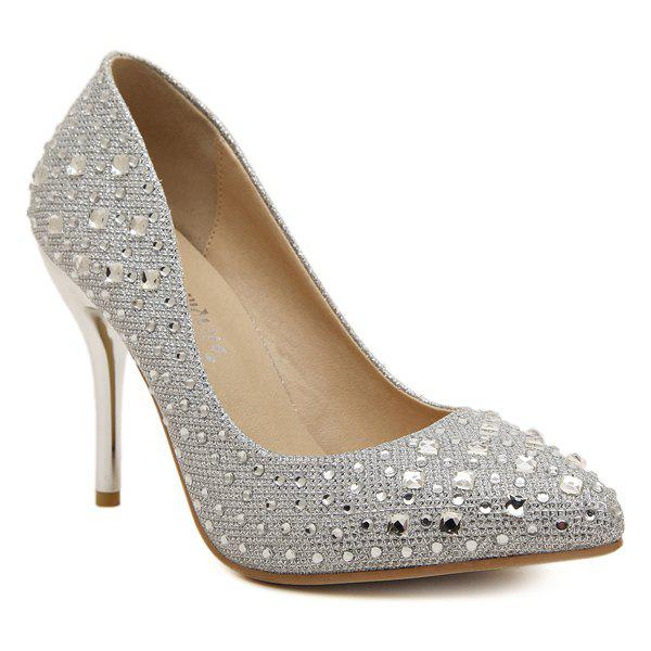Stiletto Heel Rhinestones Metal Color Pumps - SILVER 37