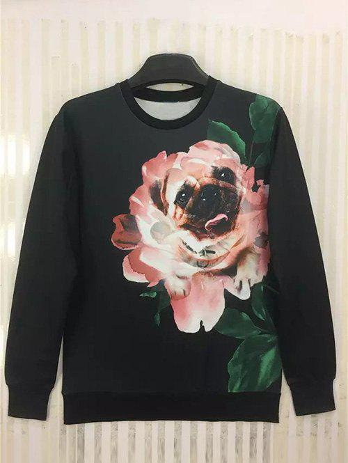 Round Neck Long Sleeve 3D Funny Dog in Flower Print Sweatshirt - BLACK XL