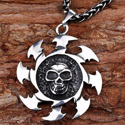 Rock Etched Hot Wheel Skull Charm Pendant - SILVER GRAY