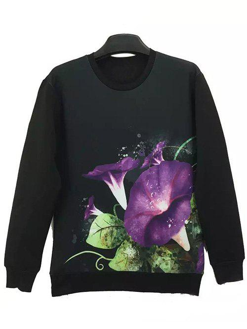 Round Neck Long Sleeve 3D Flower Print Sweatshirt - BLACK XL