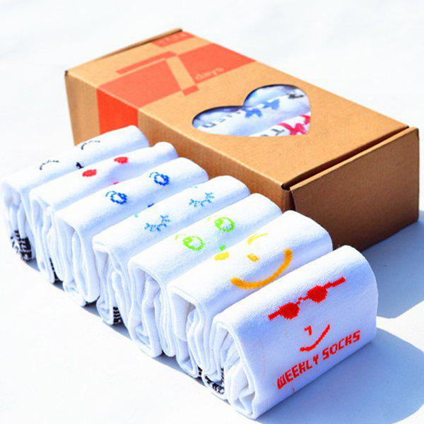 7 Pairs of Casual Various Smile Faces Pattern Socks