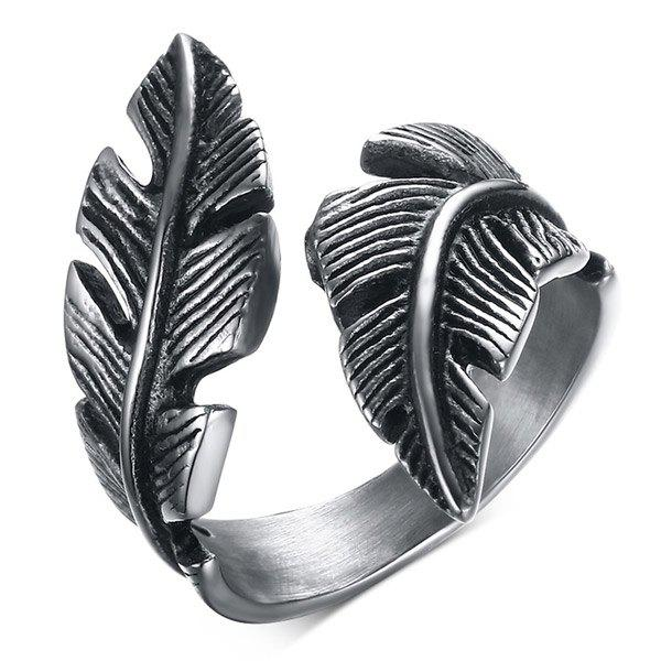 Faux Feather Stainless Steel Open Ring - SILVER