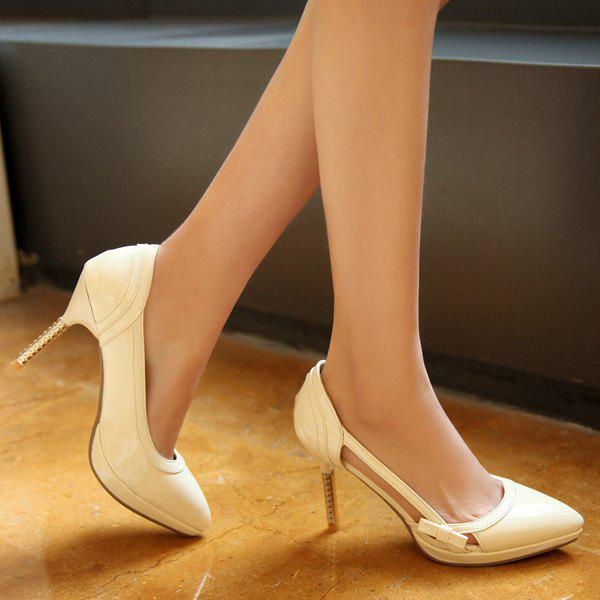 Bow Patent Leather Hollow Out Pumps - OFF WHITE 39