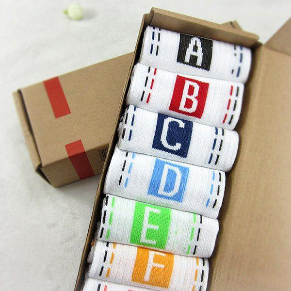 7 Pairs of Casual Letter Square Dashed Line Pattern Socks - WHITE