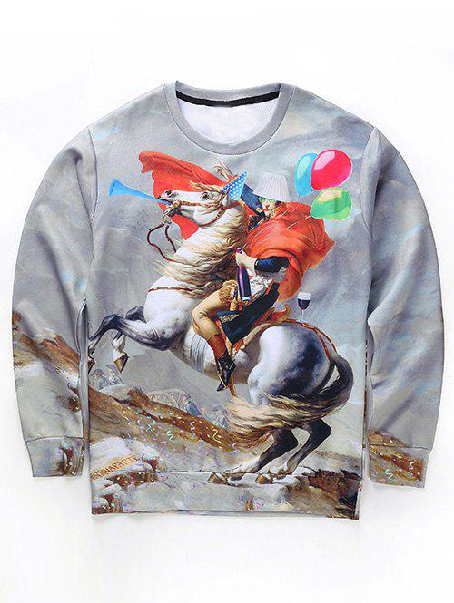 Round Neck Long Sleeve 3D Funny Napoleon Print Sweatshirt - GRAY XL