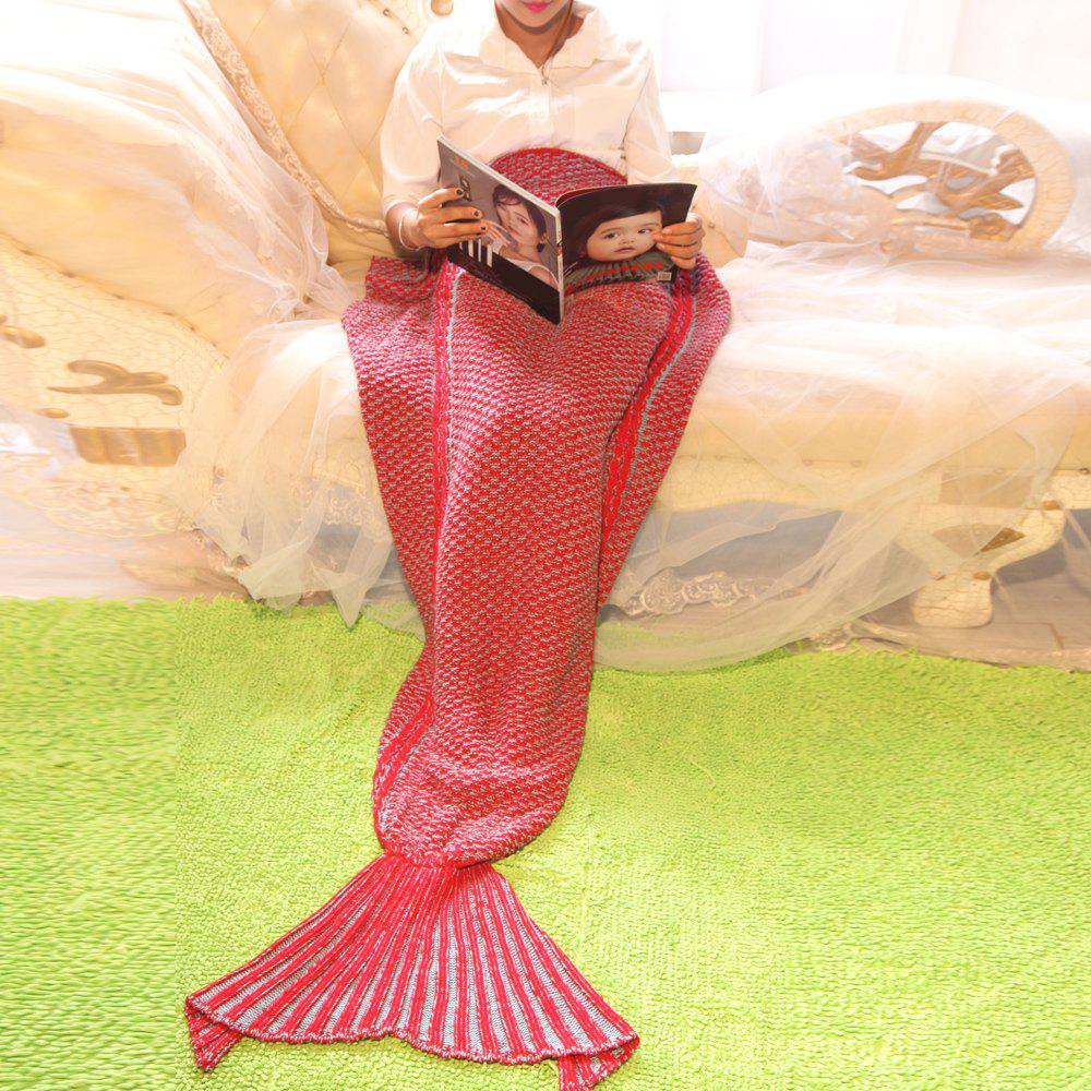 Mermaid Tail Style Knitting Soft Blanket -  RED