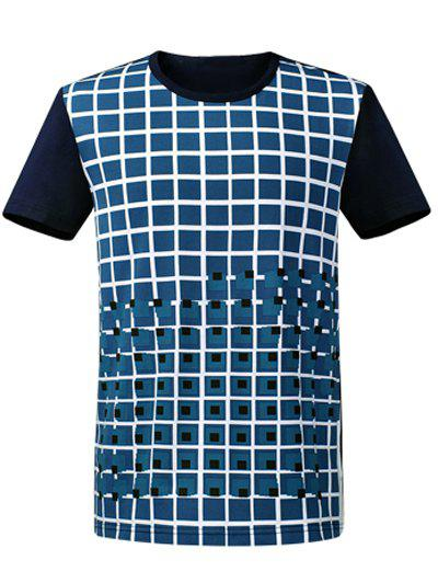 Round Neck Short Sleeve Plaid T-Shirt - PURPLISH BLUE S