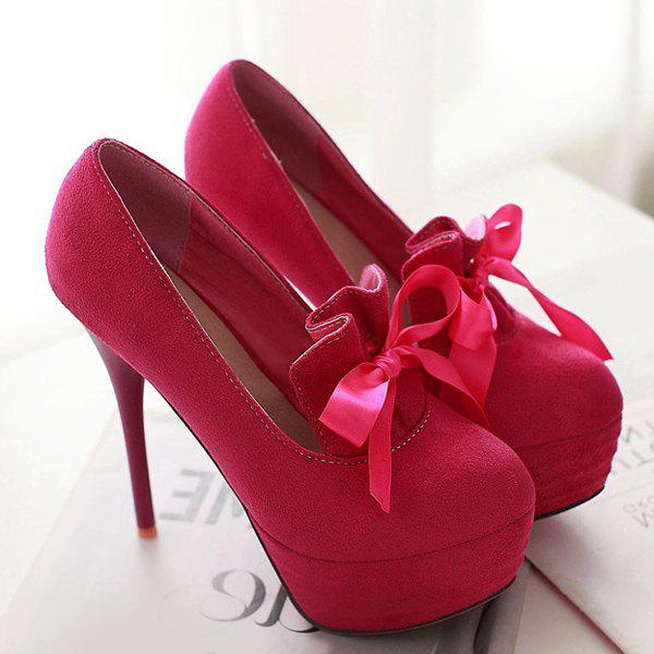 Platform Suede Ribbons Pumps - ROSE MADDER 43