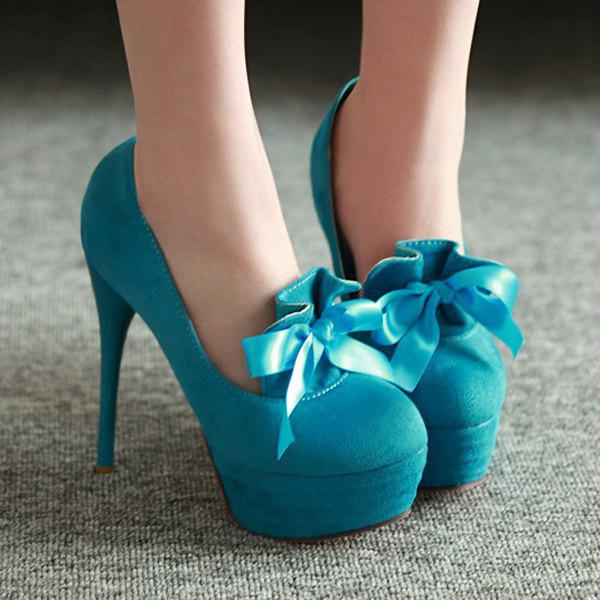 Platform Suede Ribbons Pumps - LAKE BLUE 37