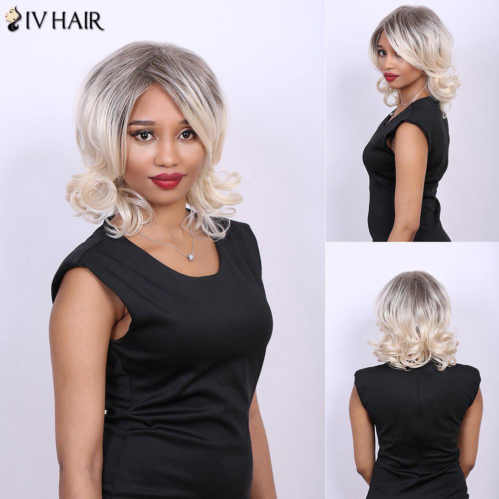 Medium Side Parting Curly Multi Real Natural Hair Siv Wig - COLORMIX