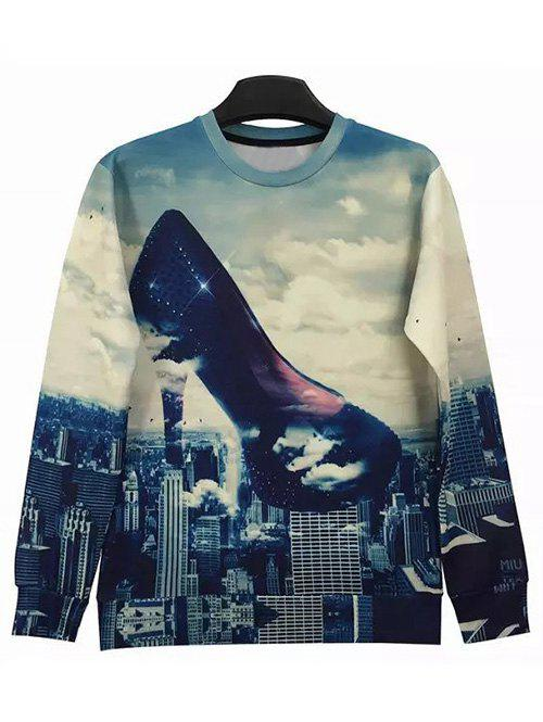 Round Neck Long Sleeve 3D Abstract High-Heeled Shoes and City Print Sweatshirt - XL COLORMIX