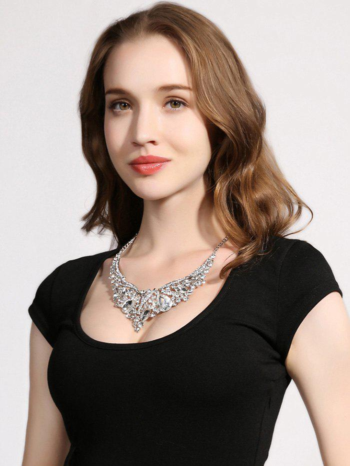 Rhinestoned Water Drop Wedding Necklace Jewelry - SILVER