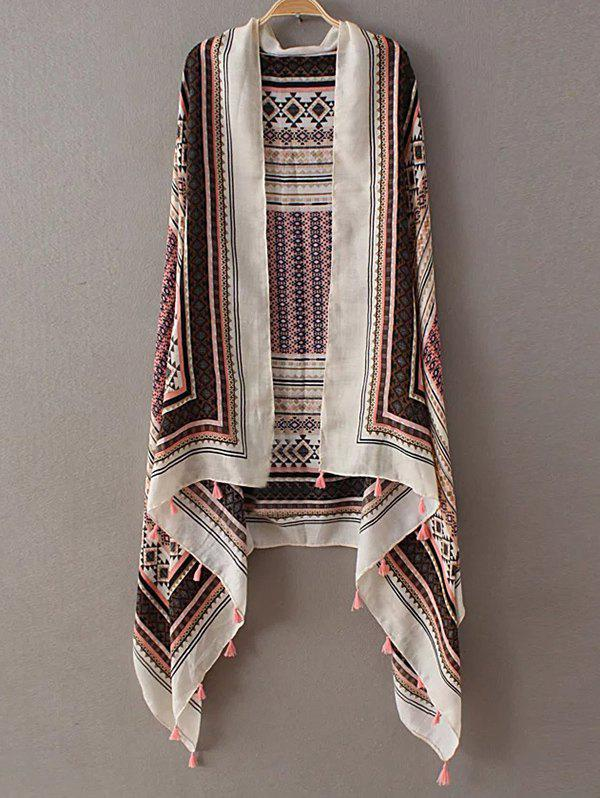 Retro Small Rhombus Plaid Pattern Tassel Pashmina - PINK