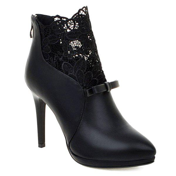 Zipper Splicing Embroidey Ankle Boots - BLACK 41
