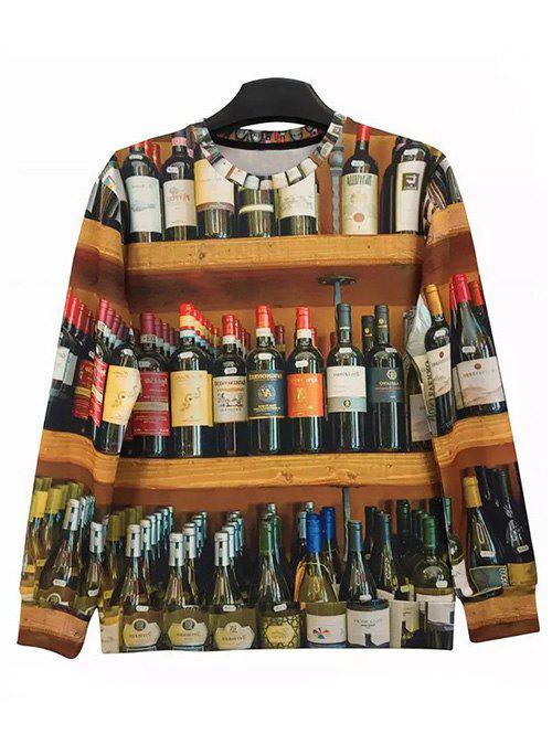 Round Neck Long Sleeve 3D Bottles Print Sweatshirt