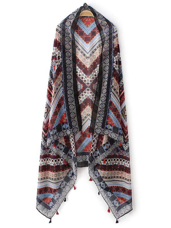 Retro Chevron Pattern Tassel Pashmina - BROWN