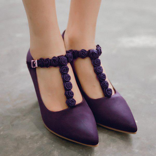 T Bar Satin Flowers Pumps - PURPLE 40