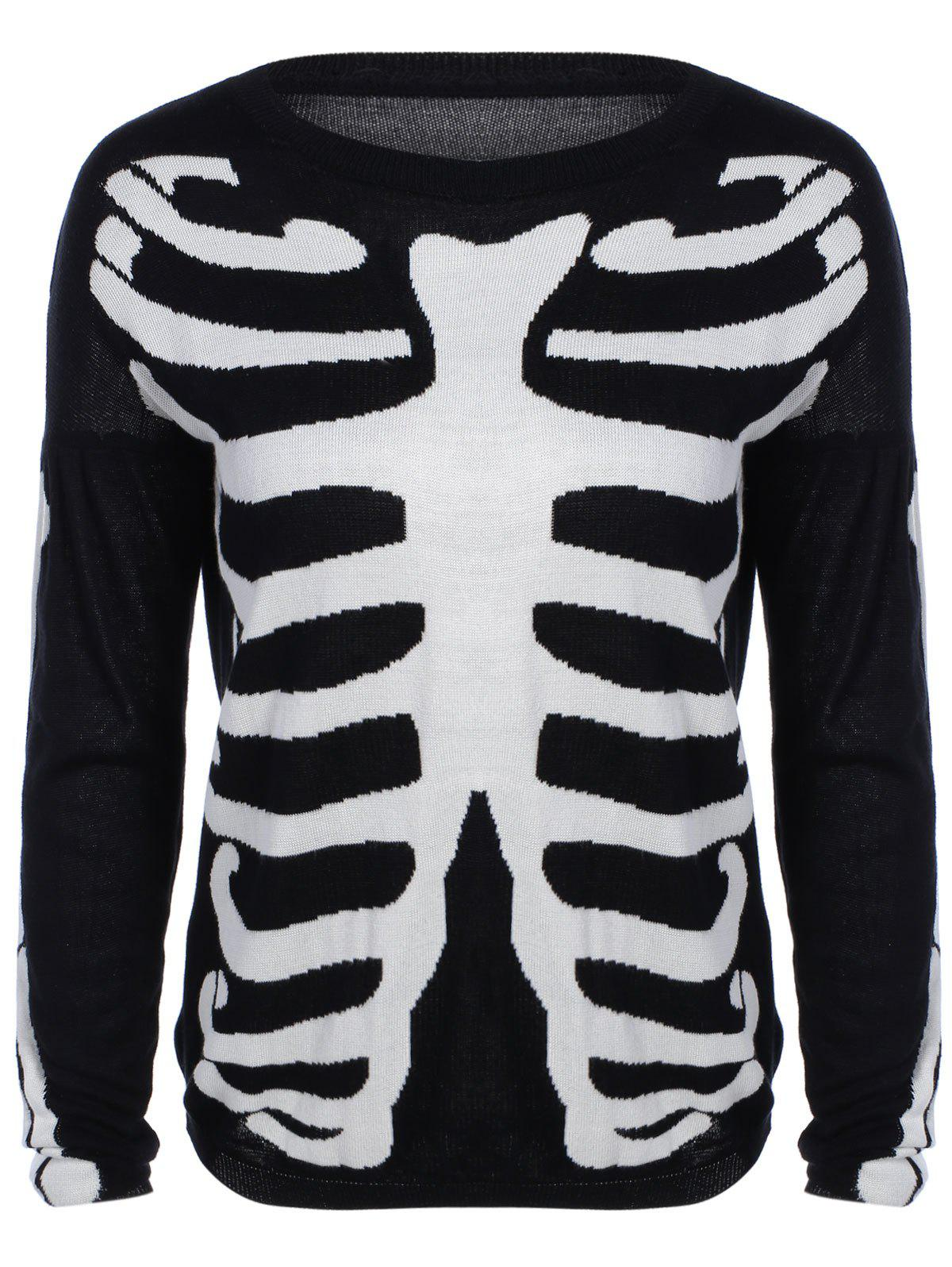 Long Sleeve Skeleton Print Sweater - BLACK L