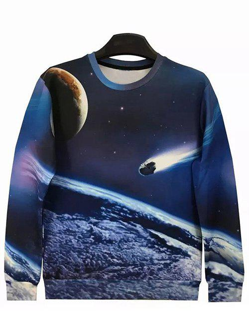 Round Neck Long Sleeve 3D Meteor Print Sweatshirt round neck long sleeve 3d coins print sweatshirt