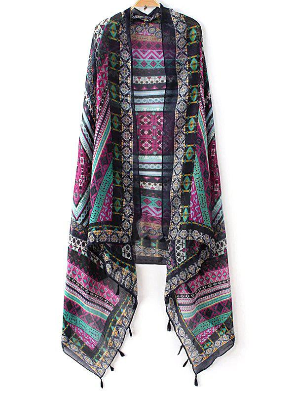 Retro Stripe and Rhombus Pattern Tassel Pashmina - PURPLE