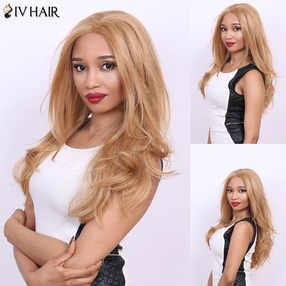Middle Part Long Straight Slightly Curled Real Natural Hair Siv Wig - BLONDE/AUBURN BROWN