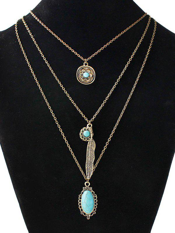 Faux Turquoise Blossom Feather Layered Necklace - GOLDEN