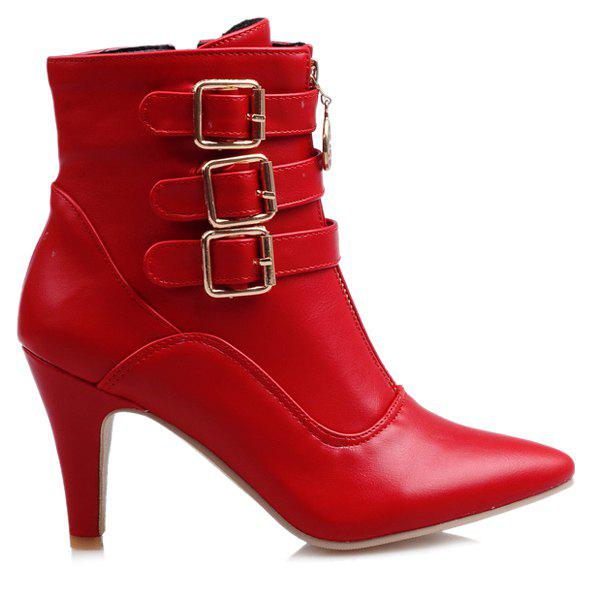 Pointed Toe Double Zipper Buckles Short Boots - RED 43