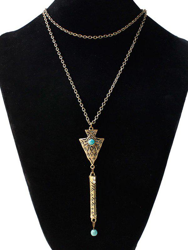 Faux Turquoise Engraved Geometric Sweater Chain - GOLDEN
