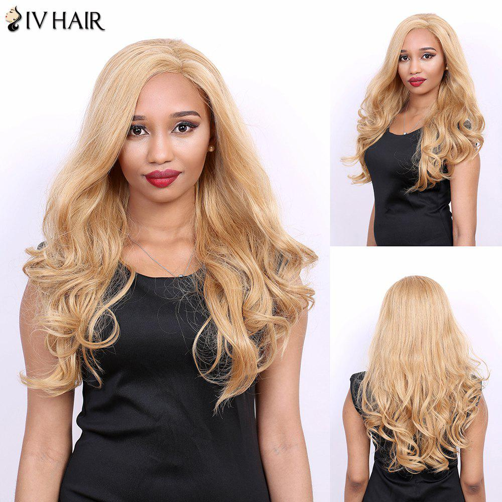 Wavy Long Side Parting Real Natural Hair Siv Wig - GOLDEN BROWN/BLONDE