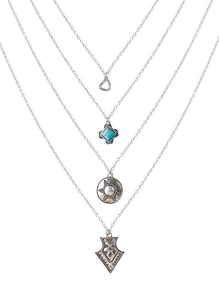 Faux Turquoise Coeur strass Pull Chain - Argent