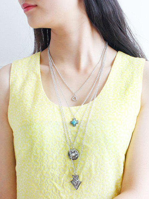 Faux Turquoise Rhinestone Heart Sweater Chain - SILVER