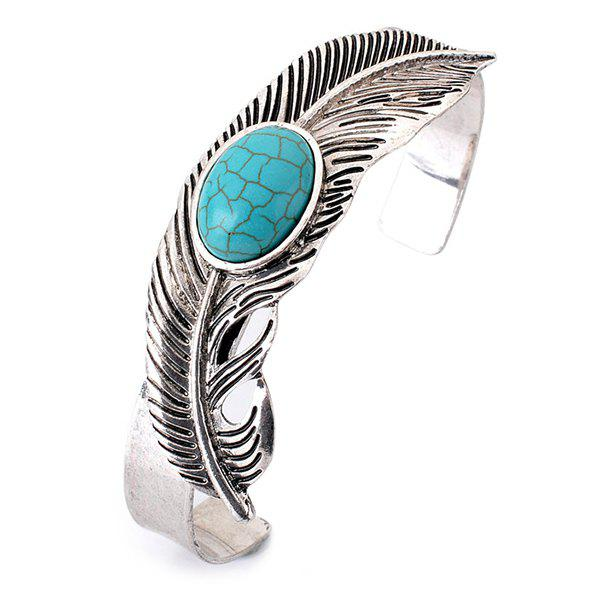 Retro Oval Faux Turquoise Feather Cuff Bracelet - SILVER
