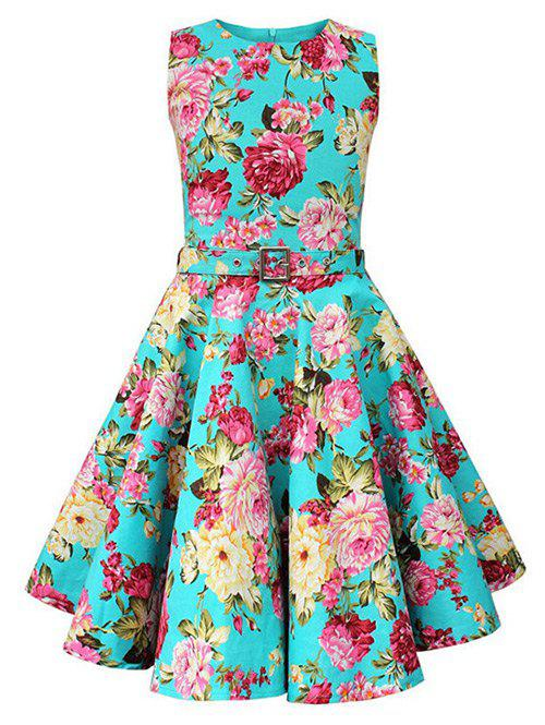 Vintage Sleeveless Floral Print Pin Up Dress - BLUE 2XL